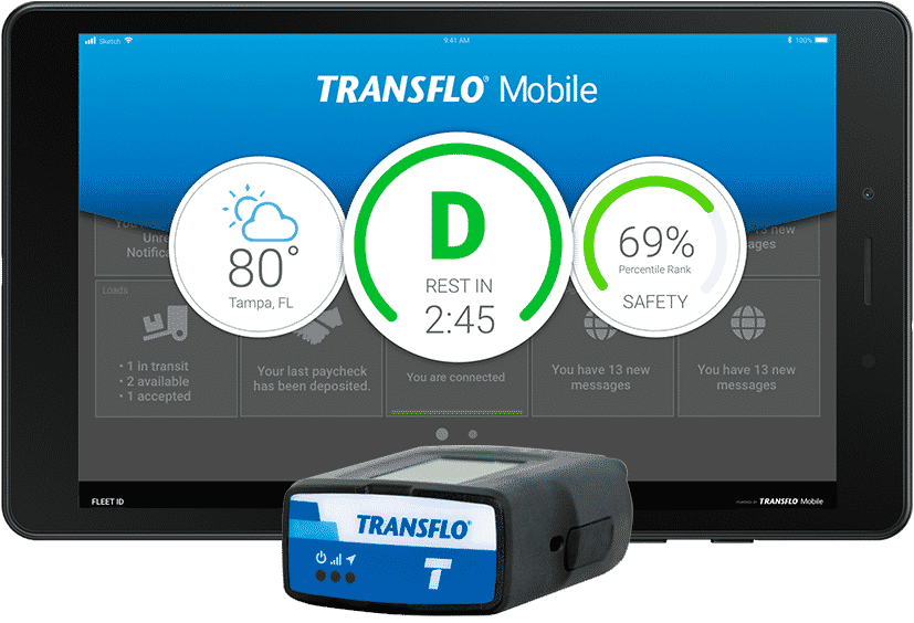 Geotab ELD integrated with the Transflo mobile app